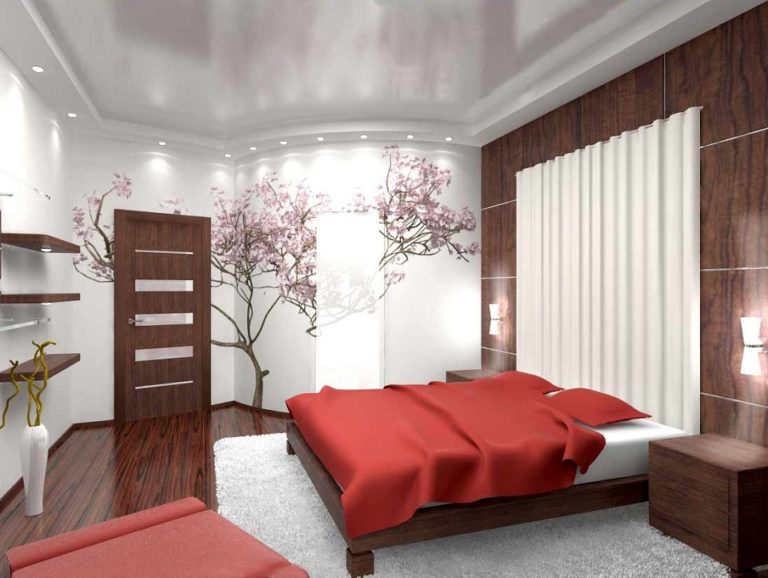 Натяжные потолки в спальня дизайн