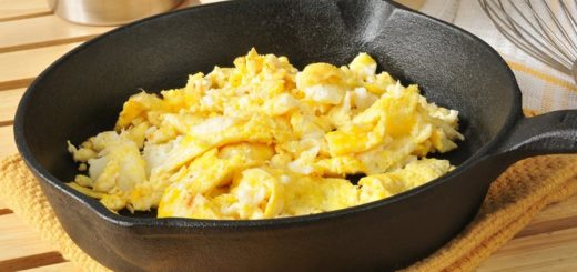 A cast iron skillet with eggs.